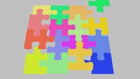 Le morceau de puzzle tombe en place, le 2d puzzle de cgi d'animation illustration libre de droits