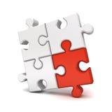 Le morceau rouge de puzzle denteux se tiennent du concept différent de foule illustration de vecteur
