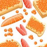 Le morceau sans couture de modèle de saumons rouges frais pêchent les filets de caviar et le pain savoureux avec l'illustration d Photographie stock