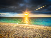 Le Morn beach at sunset. Royalty Free Stock Images
