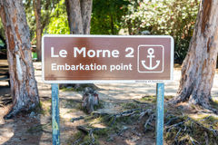 Le Morne bay Embarkation point sign Stock Photography
