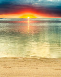 Le Morne beach at sunset. Royalty Free Stock Images