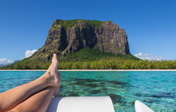 Le Morne Brabant in Mauritius with sea panorama.  Royalty Free Stock Photo