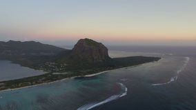 Le Morne Brabant mountain, aerial Mauritius stock video footage