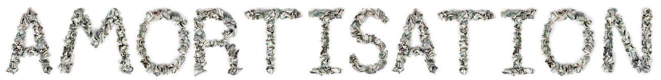 Amortissement - factures 100$ serties par replis Image stock