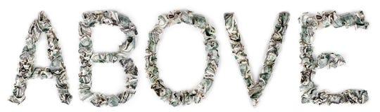 Au-dessus - des factures 100$ serties par replis Image libre de droits