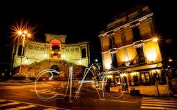 Le mot ciao contre Bastione à Cagliari Photographie stock libre de droits