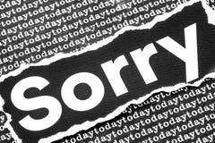 Le mot désolé Image libre de droits