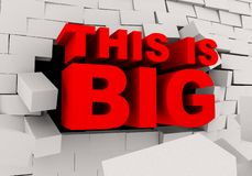 le mot 3d ceci est grande coupure par le mur de briques illustration de vecteur