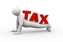 le mot d'impôts de l'homme 3d soulèvent Photographie stock