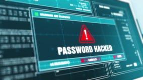 Le mot de passe a entaillé l'écran d'ordinateur d'avertissement de message d'erreur d'alerte de sécurité des systèmes banque de vidéos