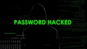 Le mot de passe a entaillé pour fendre l'email, sécurité de la correspondance, fuite des données images stock
