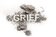 Le mot de peine en tant qu'émotion triste, pleurent pour des morts a aimé un Photos libres de droits