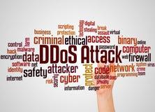 Le mot et la main d'attaque de DDoS avec le marqueur opacifient le concept illustration libre de droits