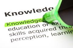 Le mot la «connaissance» mise en valeur Images stock