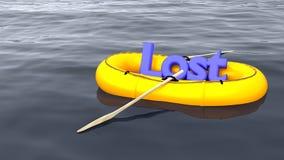 Le mot a perdu dans seul le canot en caoutchouc sur l'océan Images libres de droits