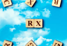 Le mot RX photo stock