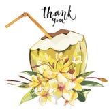 Le mot vous remercient Croquis tiré par la main de noix de coco de vecteur avec des fleurs de plumeria Illustration tropicale de  Image libre de droits