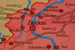 Le mot ZWICKAU sur la carte Photos stock