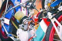 Le moteur de la moto pour le speed-way photographie stock libre de droits