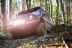 Le moteur emballant dans le véhicule utilitaire ou le SUV de sport de forêt d'automne surmonte des obstacles Course tous terrains photographie stock libre de droits