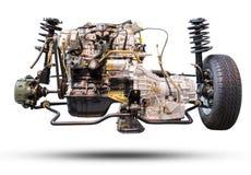 Le moteur et la roue de voiture conduisent le nouveaux pneu de voiture et amortisseur Photo stock