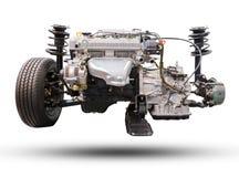 Le moteur et la roue de voiture conduisent le nouveaux pneu de voiture et amortisseur Images libres de droits