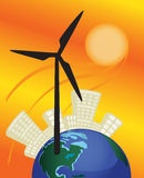 Le moulin à vent actionne la ville et la terre Photos libres de droits