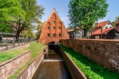 Le moulin de Wielki Mlyn à Danzig images libres de droits