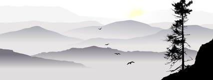 Le Mountain View avec des oiseaux de vol pendant un lever de soleil illustration de vecteur