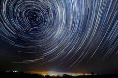 Le mouvement des étoiles autour de l'étoile de Pôle Images libres de droits