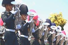 Le mouvement des militaires dans l'orchestre Photographie stock libre de droits