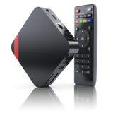 Le multimedia e la TV inscatolano il ricevitore ed il giocatore con il regolatore a distanza Fotografia Stock