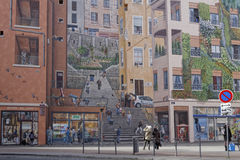 Le mur从街道的des Canuts 库存照片