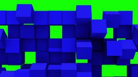 Le mur bleu des cubes tombe en morceaux illustration stock