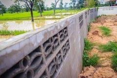 Le mur de barrière du logement nouvellement construit est incliné et du effondré Photographie stock