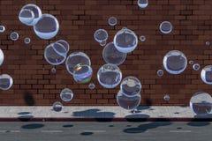 Le mur de briques et la rue de lancement, rendu 3d illustration stock