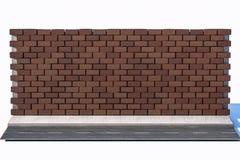 Le mur de briques et la rue de lancement, rendu 3d illustration de vecteur