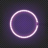 Le mur de lampe au néon de cercle se connectent le fond transparent Illustration de vecteur Images libres de droits