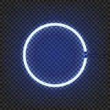 Le mur de lampe au néon de cercle se connectent le fond transparent Illustration de vecteur Image libre de droits