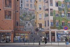 Le mur des Canuts från gatan Arkivfoto