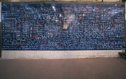Le mur des je t'aime or Wall of love in Pars stock image