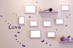 Le mur des souvenirs de l'amour Cadre de l'espace Photos stock