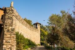 Le mur du château médiéval en parc, Turin Image libre de droits