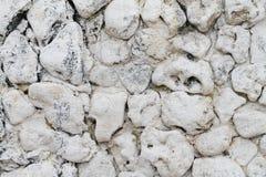 Le mur en pierre naturel blanc Images stock