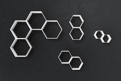 Le mur foncé ou noir vide avec l'hexagone rayonne sur le mur, le rendu 3D Photo stock