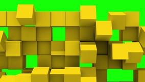 Le mur jaune des cubes tombe en morceaux illustration stock