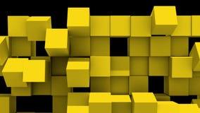 Le mur jaune des cubes tombe en morceaux illustration libre de droits