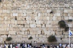 Le mur occidental à Jérusalem avec le drapeau d'état de l'Israël Photographie stock
