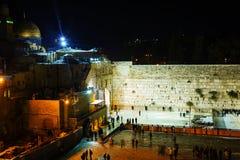 Le mur occidental à Jérusalem, Israël pendant la nuit Images stock